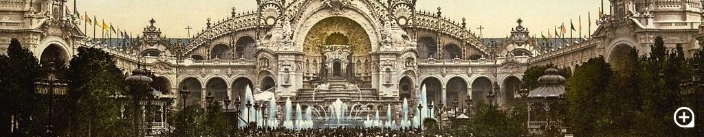 Le Chateau d'eau und Plaza, mit Palais de l'Electricité, Exposition Universelle, 1900, Paris