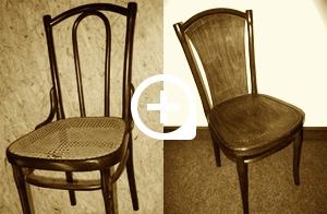 """Sessel Nr. 56, um 1900, Frästeller mit Aufdruck """"THONET"""" (übermalt), Etikettreste nicht mehr lesbar"""